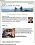 Kinesiology Department Newsletter 2011 by Kinesiology Department