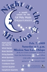"""A Night at the Mission"" concert flyer by Music Department - California Polytechnic State University - San Luis Obispo"